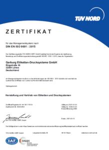 Garburg Etiketten-Drucksysteme Zertifikat DIN EN ISO 9001