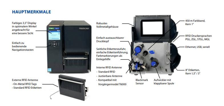 RFID Drucker T6000e Hauptmerkmale