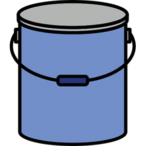 Farbdosen und Eimer